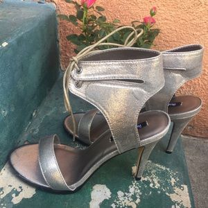 NEW dark silver ankle tied sexy heels Sz 10 shoes